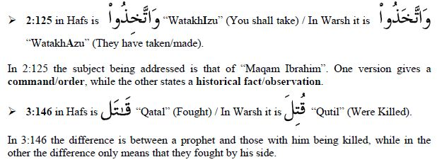 Variants in the Hafs and Warsh Versions of the Quran