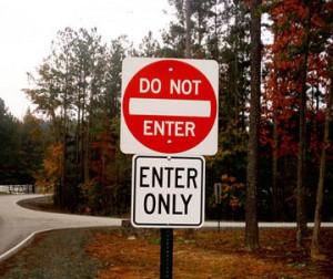 Do not enter; Enter only