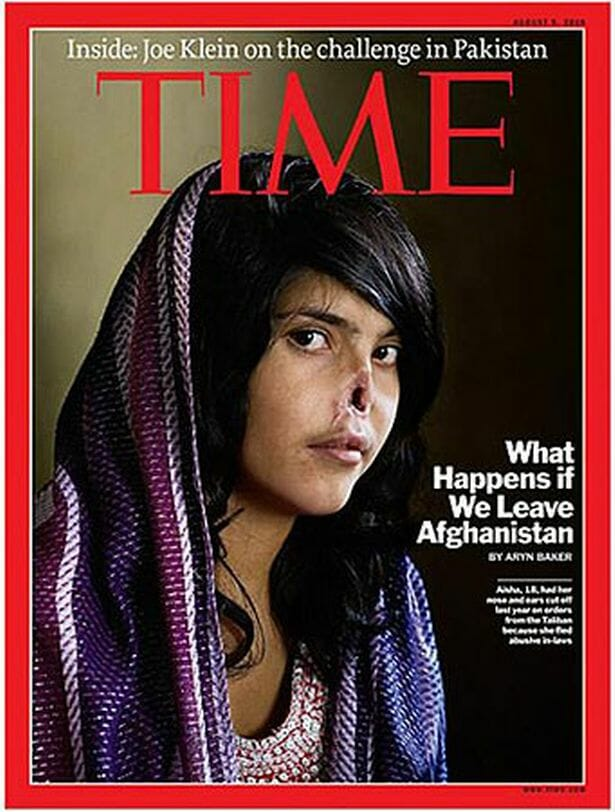 Time Magazine cover shows woman with face mutilated by Taliban extremist
