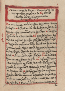 Facsimile page from an Italian manuscript of the Gospel of Barnabas.