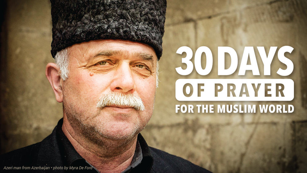 """Picture of a man from Azerbaijan with the caption, """"30 Days of Prayer for the Muslim World"""""""