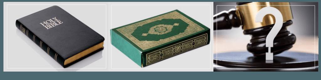 Tiga gambar Alkitab, Quran, dan palu Hakim.