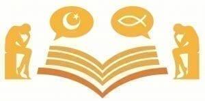 Gambar dua orang yang mendiskusikan Kitab Suci Kristen dan Islam. Klik gambar untuk mengirimkan surel kepada penulis dan berdiskusi lebih lanjut.