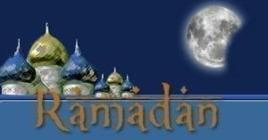 "A picture of Islamic mosques and the moon. The picture says, ""Ramadan."""