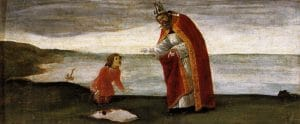 "Painting of ""The Vision of Saint Augustine"" by Sandro Botticelli (c.1488). A little boy is explaining to St. Augustine that he is trying to put the Sea into a little hole that he dug."