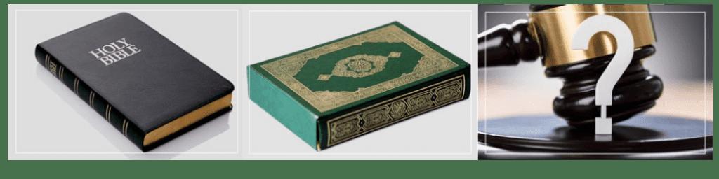 Drei Bilder von einer Bibel, einem Koran und einem Richterhammer.