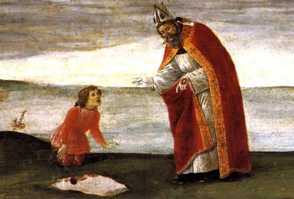"""Gemälde """"Die Vision des St. Augustinus"""" von Sandro Botticelli (um 1488). Ein kleiner Junge erklärt dem St. Augustinus, dass er versucht, das Meer in ein kleines Loch zu stecken, das er gegraben hat."""