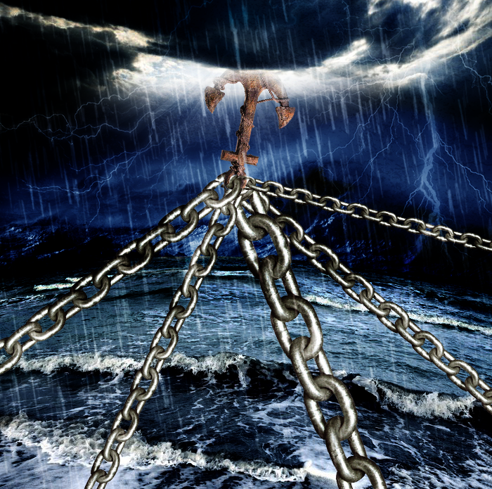 "An image of an anchor in heaven giving stability in the midst of a dark storm over the ocean waters. Usually anchors are found at the bottom of the ocean floor. This anchor is in heaven and depicts what the biblical author says in Hebrews 6, ""This hope we have as an anchor of the soul, a hope both sure and steadfast and one which enters within the veil"" (Hebrews 6:19-20)."
