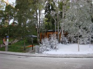 Picture of a house. On the left side of the house it is all green and summertime. On the other side of the house it is all white and wintertime.