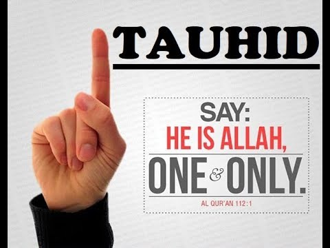 "Picture of a hand holding one finger up (the index finger). The picture says, ""Tauhid."" Underneath is a quote from Quran 112:1, ""Say: He is Allah, One & Only."""