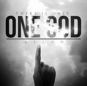 "Picture of a hand holding one finger up (the index finger). The picture says, ""There is only One God: Allah."""