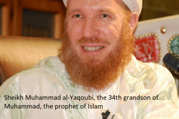 Picture of Sheikh Muhammad al-Yaqoubi, the 34th grandson of Muhammad, the prophet of Islam.