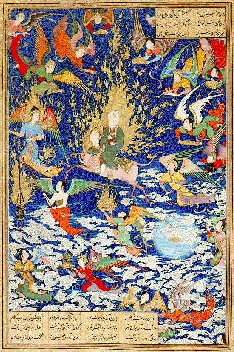 The ascent of Muhammad to heaven mounted on Burak