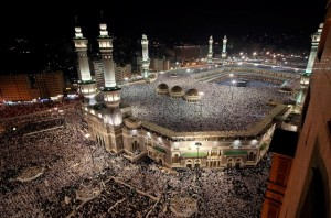 The Grand Mosque of Mecca where millions of Muslims go on Hajj, one of the five pillars of Islam